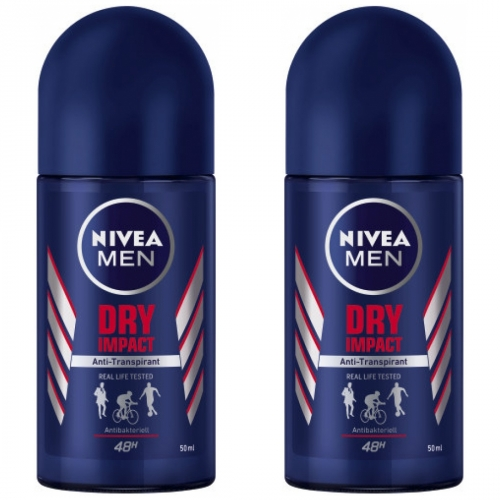 2 x Nivea Roll On Dry Impact 50ml Flasche