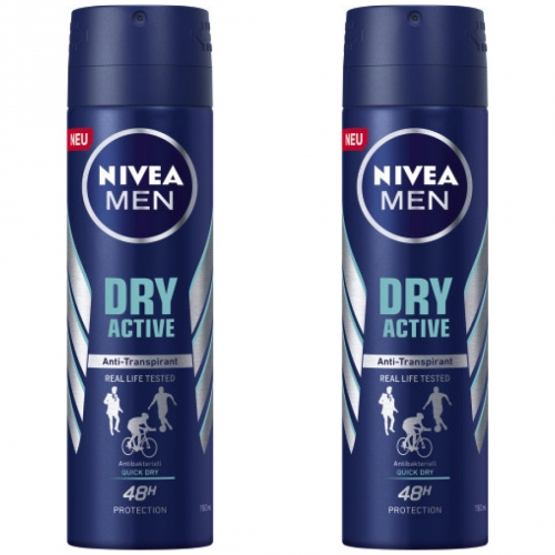 2 x Nivea Men Deo Dry Active 150ml Dose