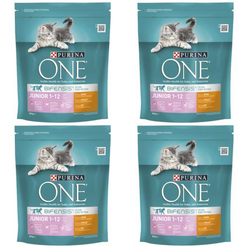 4 x one cat Junior reich an Huhn 800g Beutel