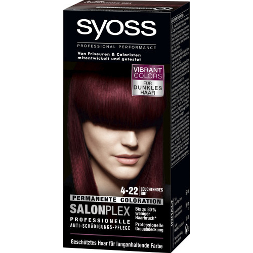 Syoss Haarfarbe Permanente Coloration Leuchtendes Rot-Violett Nr. 4-22 115ml